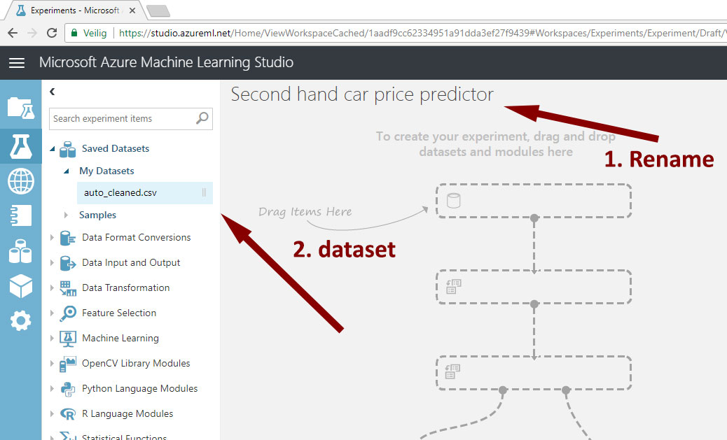 Microsoft Machine Learning Studio 101 - A used car price predictor